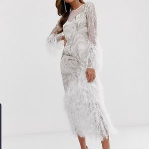 Embellished Showgirl Midi Dress with Faux Feathers